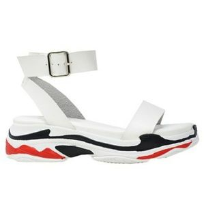 New Women's White & Black Dash Sandals